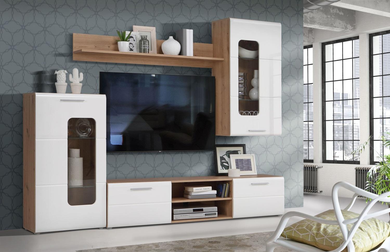 Wohnwand Owinko Artisan Eiche und Weiß 4 teilig von Forte