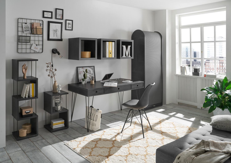 Büromöbel Little Office Flamed Wood Black und Graphit