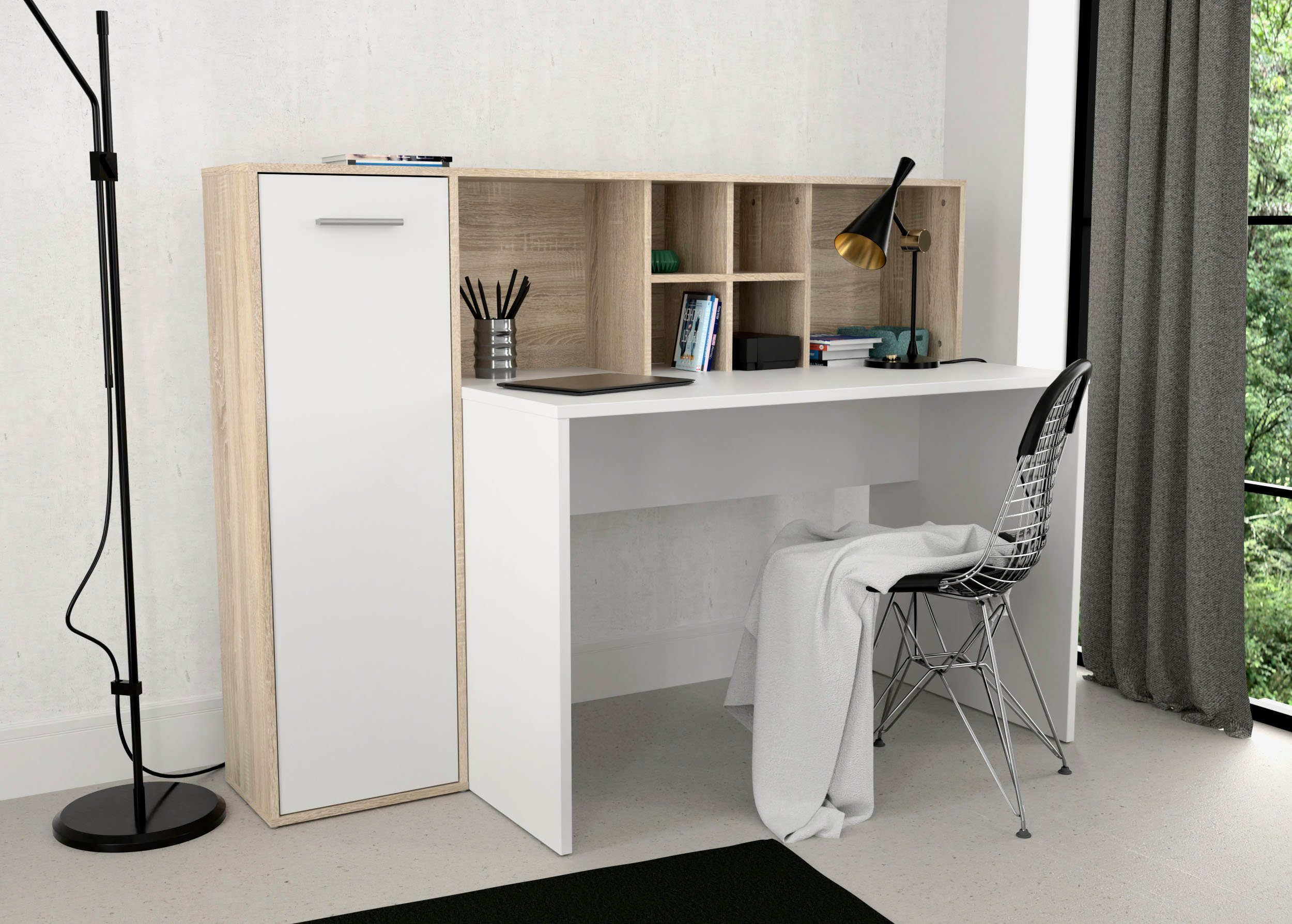 Schreibtischkombination Eriadu in moderner Artisan Eiche und Weiß, ideal für das Home Office