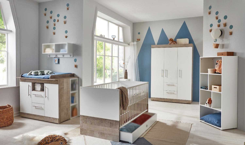 Babyzimmer Selina in Platinum Oak und Weiß komplett von Arthur Berndt