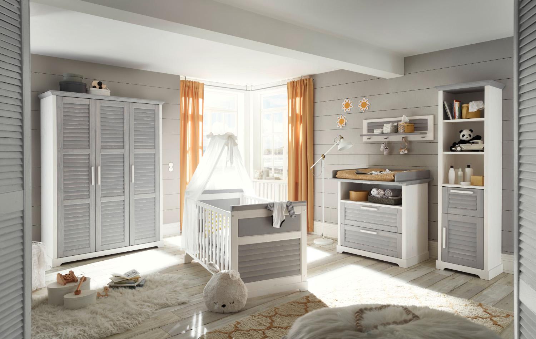 Babyzimmer Alma 5 teilig Pinie Weiß und Pinie Grau MASSIV von Begabino