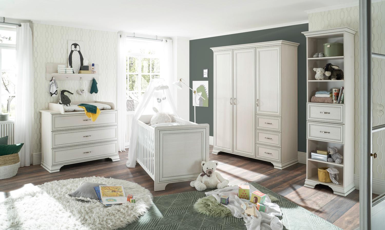 Babyzimmer Venedig in Used White mit Patina komplett von Begabino