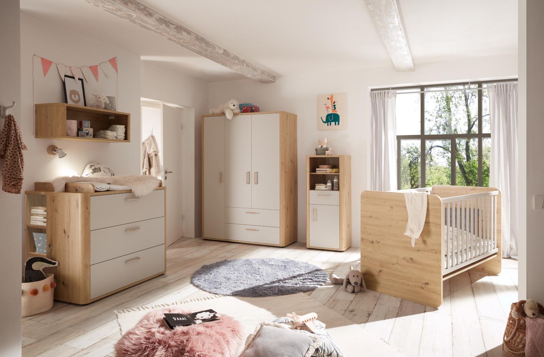 Babyzimmer Lilly in Asteiche und Kreidegrau matt Lack von Mäusbacher