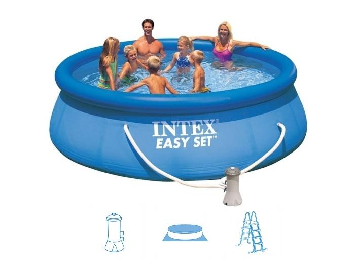 intex 28168 quick up 457 x 122 cm easy set swimming pool aufblasbar ohne zubeh r ebay. Black Bedroom Furniture Sets. Home Design Ideas