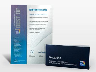 Urkunde und Einladung zum Berliner Stahldialog 2018