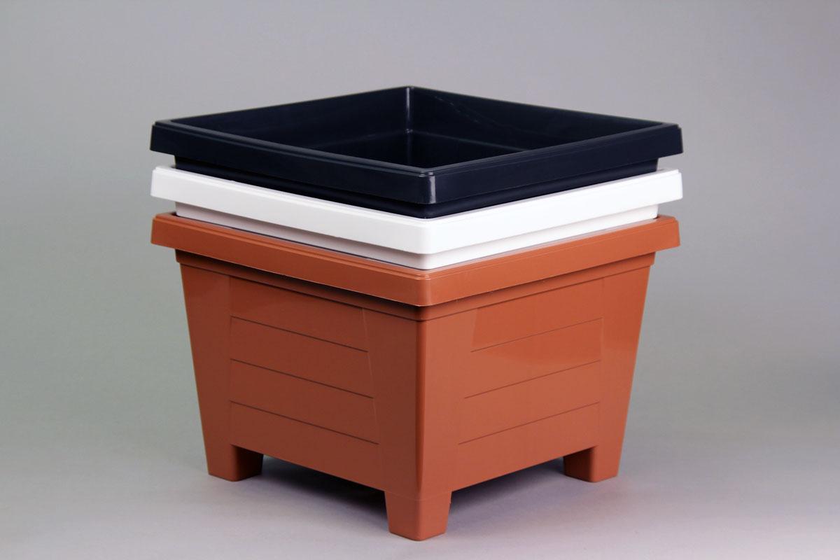 balkonkasten blumenkasten pflanzkasten mit bew sserung wasserspeicher terrakotta ebay. Black Bedroom Furniture Sets. Home Design Ideas
