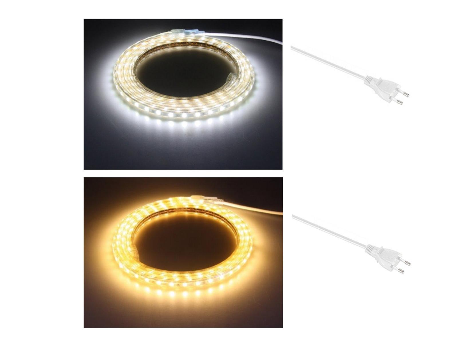 led lichtband 230v mit stecker dimmbar ip44. Black Bedroom Furniture Sets. Home Design Ideas