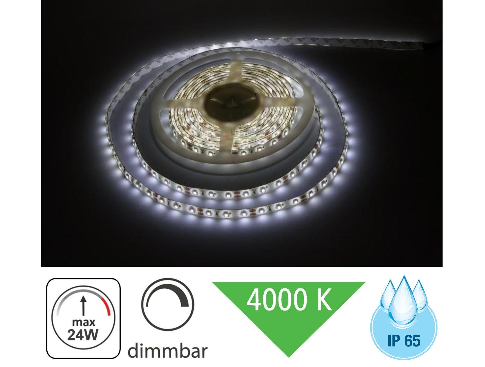 (4,98 Eur/m) Del Extérieur Stripe 5 M Ip65 Variateur - 24 W 4000k Lumineuse Feuchtraum-afficher Le Titre D'origine