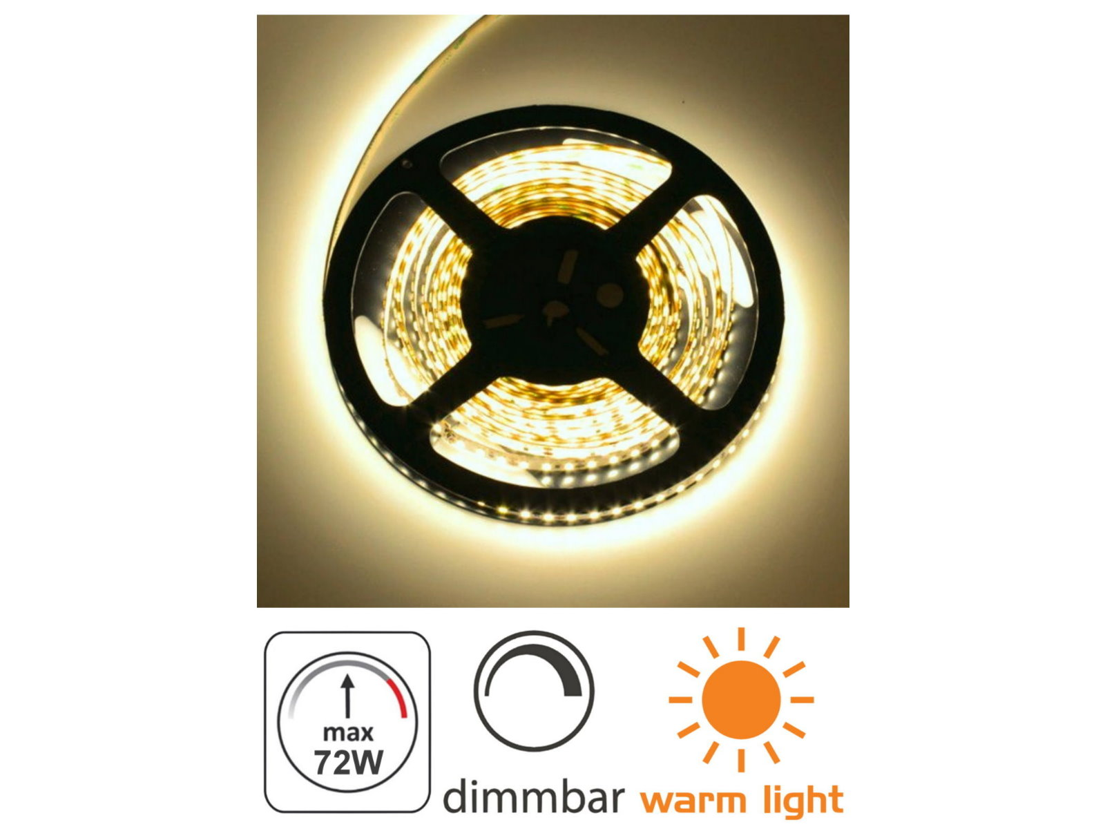 LED Stripe 5m 12V dimmbar - 72W 300x5050 warmweiß