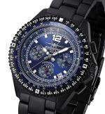 FIREFOX Herren- Armbanduhr FIGHTER Chronograph SCHWARZ FFS05-120 blau
