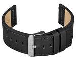 FIREFOX Uhrenarmband Leder schwarz 22mm Dornschließe grau LB-01-A22c