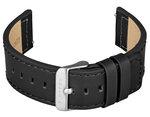 FIREFOX Uhrenarmband Leder schwarz 16mm Dornschließe silber LB-01-A16a