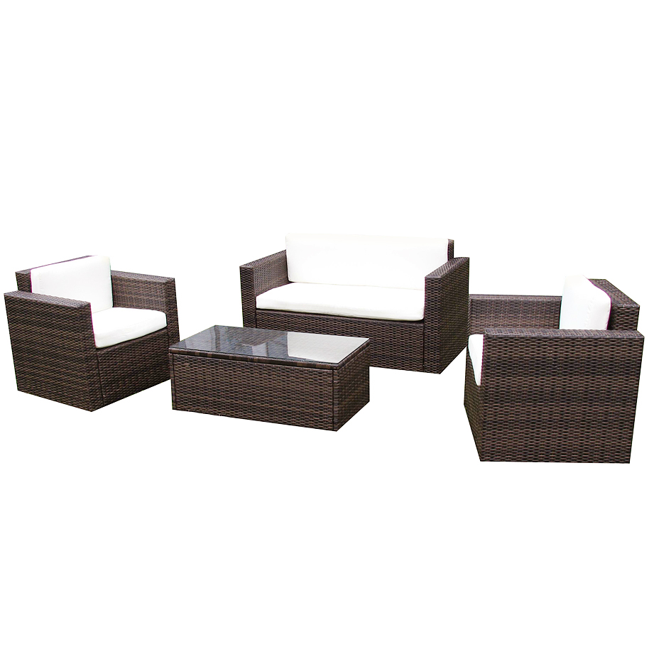 gartenm bel gartenset sitzgruppe rattan cannes in braun poly rattan garnitur neu ebay. Black Bedroom Furniture Sets. Home Design Ideas