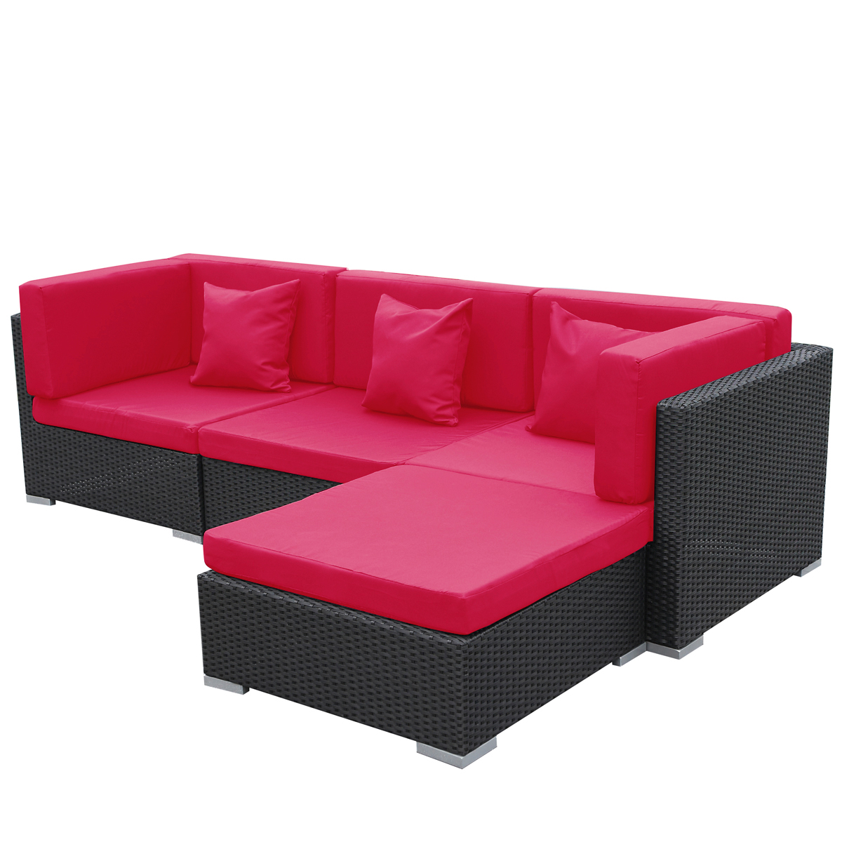 gartenm bel gartenlounge polyrattan sofa bergen rot schwarz aluminium lounge ebay. Black Bedroom Furniture Sets. Home Design Ideas