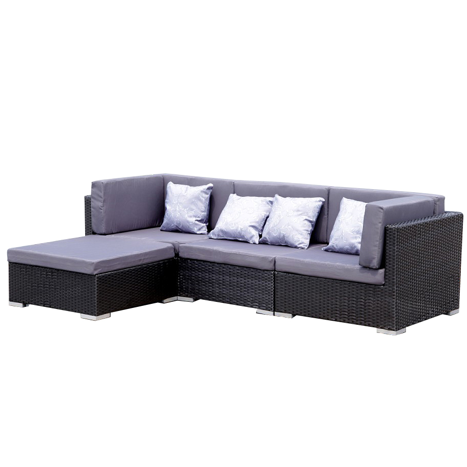 gartenm bel lounge sofa bergen ii schwarz grau gartenlounge set poly rattan ebay. Black Bedroom Furniture Sets. Home Design Ideas