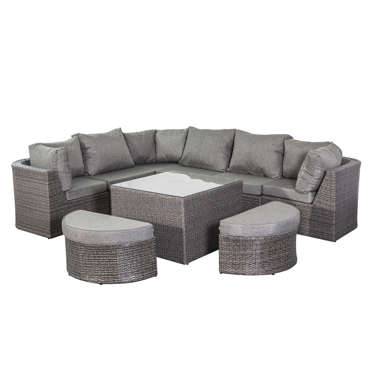Gartenmöbel Lounge Set Bolivien in grau XXL Alugestell Garten ...