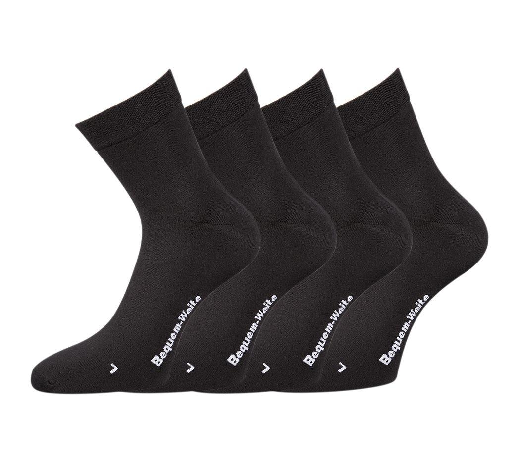 6 Paar Herren Diabetikersocken ohne Gummi Handgekettelt Baumwolle schwarz