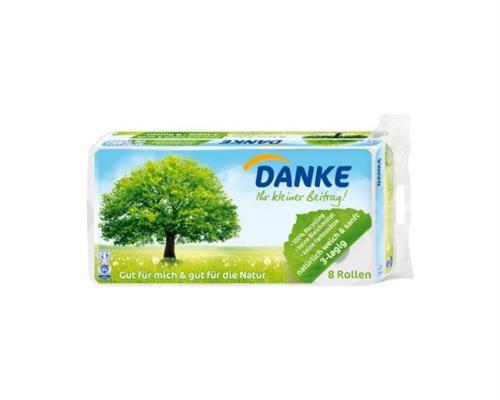 Danke Klopapier Toilettenpapier 3-lagig 1 Pack á 8 Rollen (0,35 Euro je Rolle)