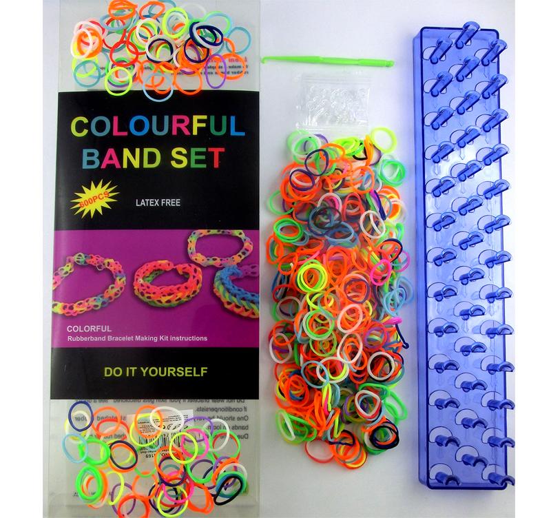 Loom Bands Starter Set Bandz colorful DIY 600 Gummibänder Webrahmen Bänder Haken