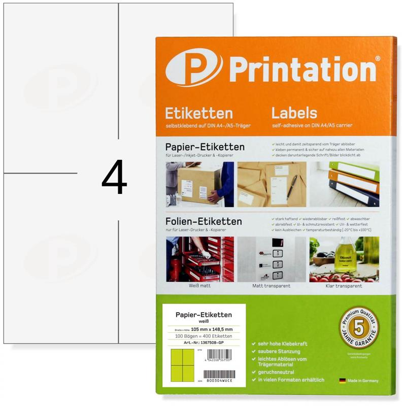 Printation 105 x 148,5 Etiketten weiß 400 A6 Paketaufkleber 105x148 A4