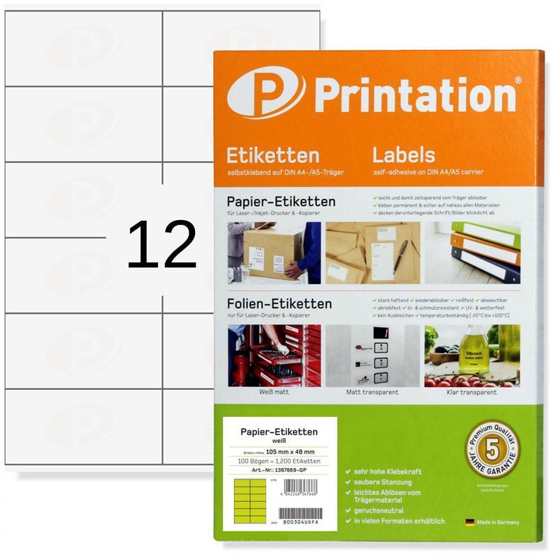 Printation 105 x 48 Etiketten weiß bedruckbar 1200 Aufkleber 105x48 A4