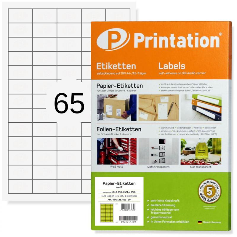 Printation 38,1 x 21,2 Etiketten bedruckbar 6500 Aufkleber 38x21,2 mm