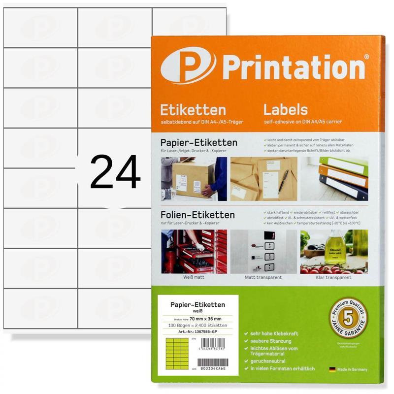 Printation 70 x 36 Etiketten Internetmarke  2400 Adressaufkleber 70x36