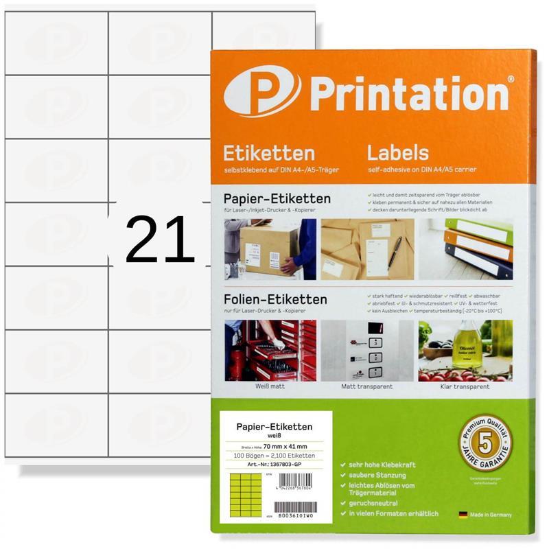 Printation 70 x 41 Etiketten weiß   2100 Aufkleber 70x41 Internetmarke