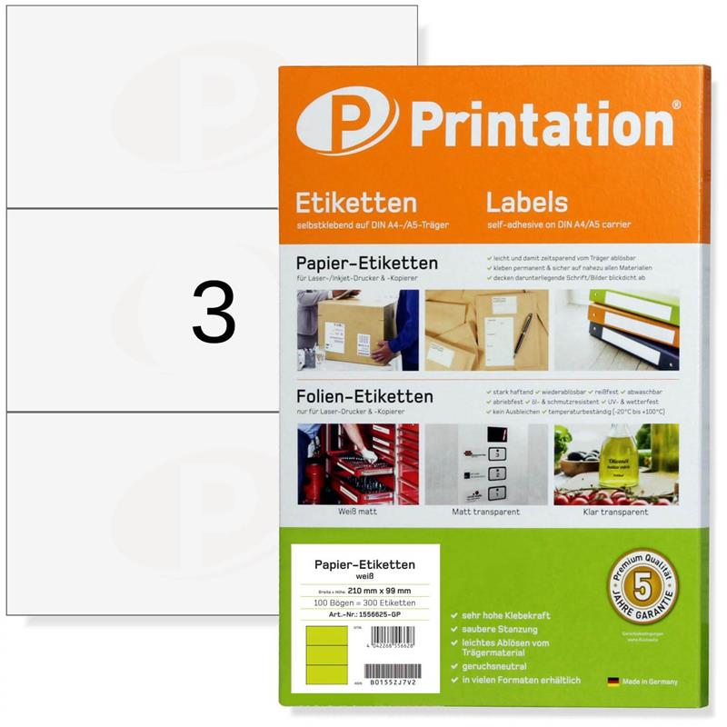 Printation 210 x 99 mm Klebe Etiketten weiß  300 Aufkleber 210x99 A4