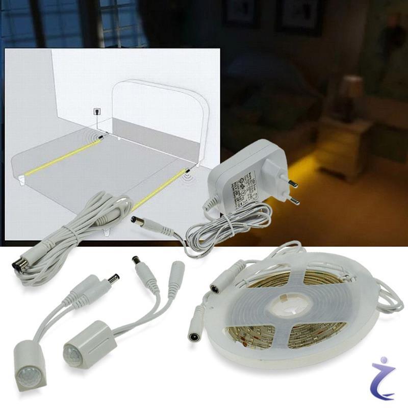led bettbeleuchtung mit bewegungsmelder 2x1 25m sensor stripe bettlicht warmwei ebay. Black Bedroom Furniture Sets. Home Design Ideas