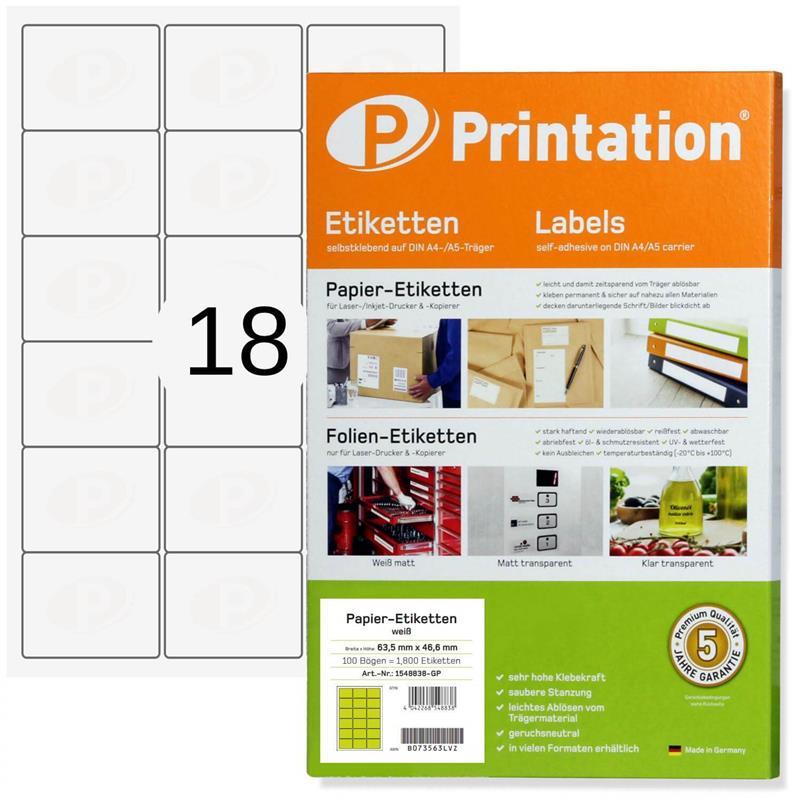 Printation 63,5 x 46,6 mm Etiketten weiß  1800 Aufkleber 63,5x46,6 A4