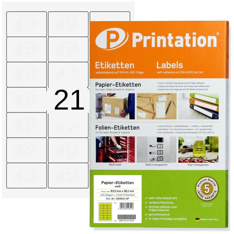 Printation 63,5 x 38,1 mm Etiketten weiß - 100 Blätter 3x7 abgerundet
