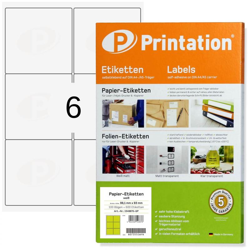 Printation 99,1 x 93 mm  600 Universal Adress Etiketten weiß 100 Blatt