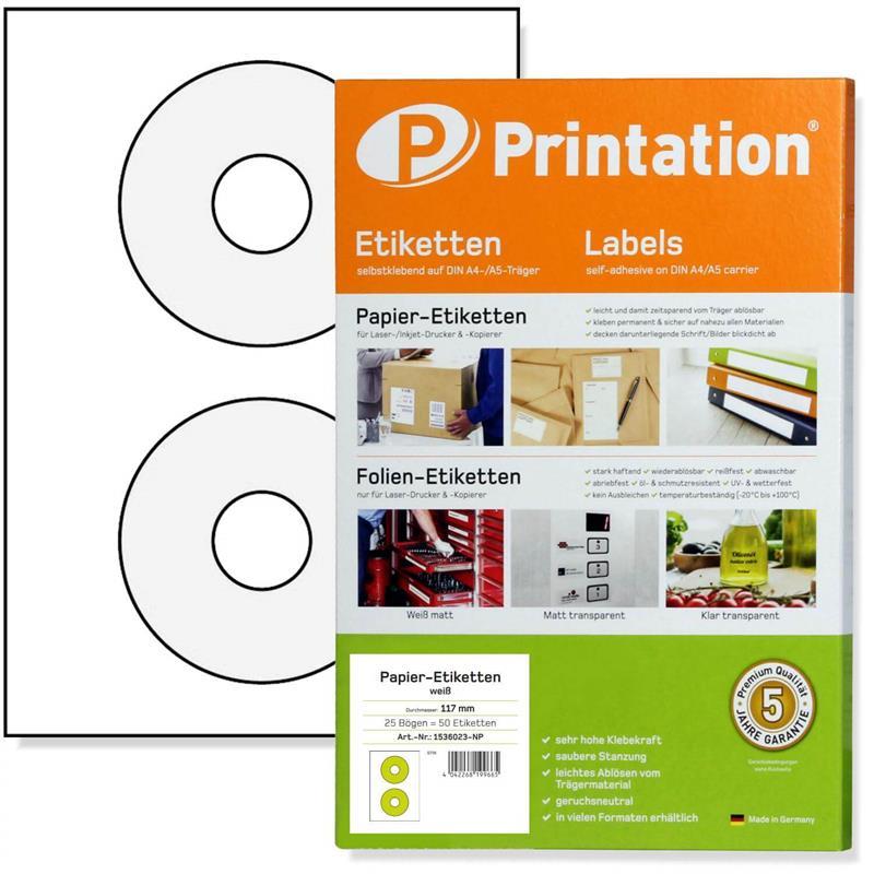 CD DVD Etiketten weiß selbstklebend rund blickdicht 25 Blatt 50 Labels
