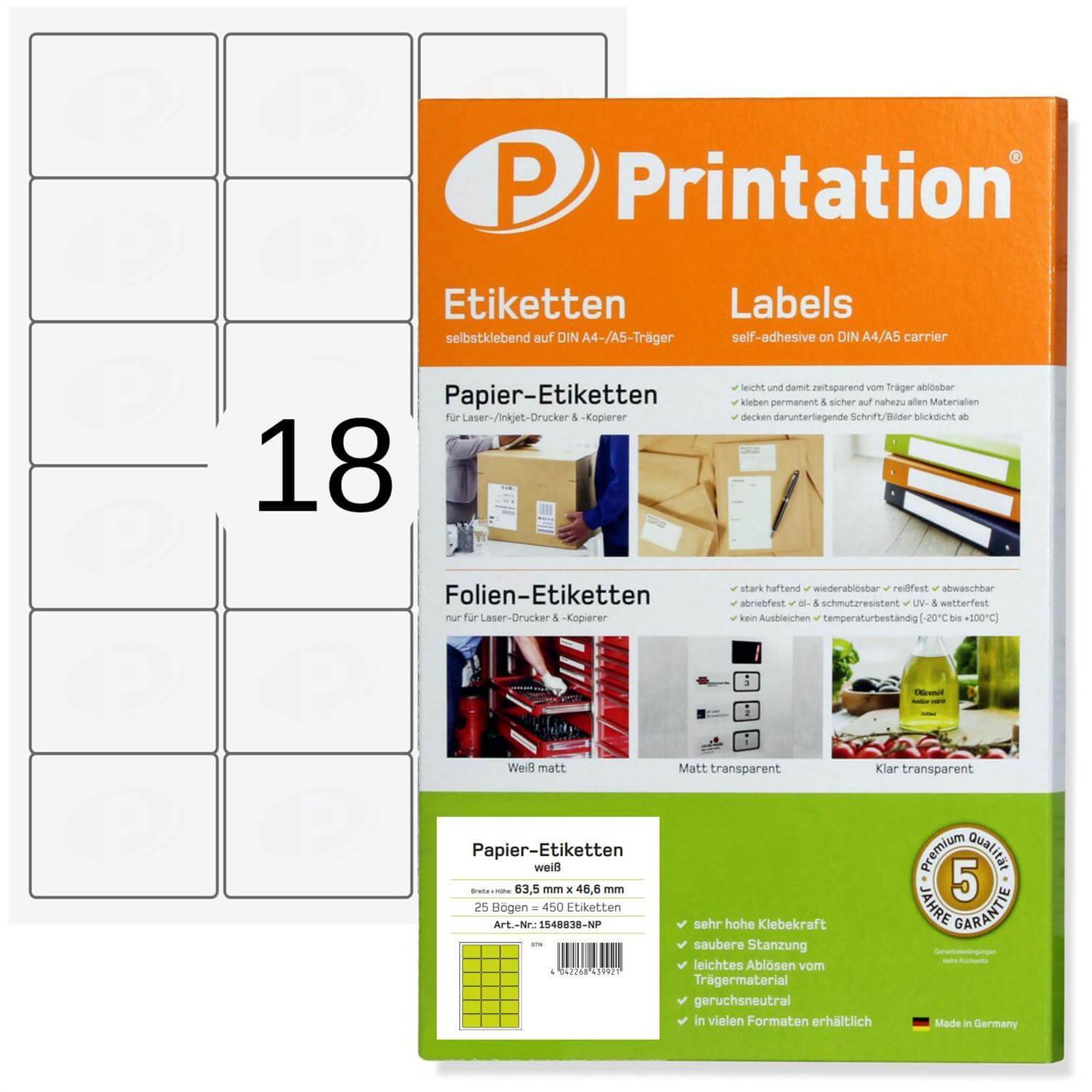 Adressetiketten 63,5 x 46,6 mm weiß selbstklebend 450 Etiketten 63,5x46,6 A4 25