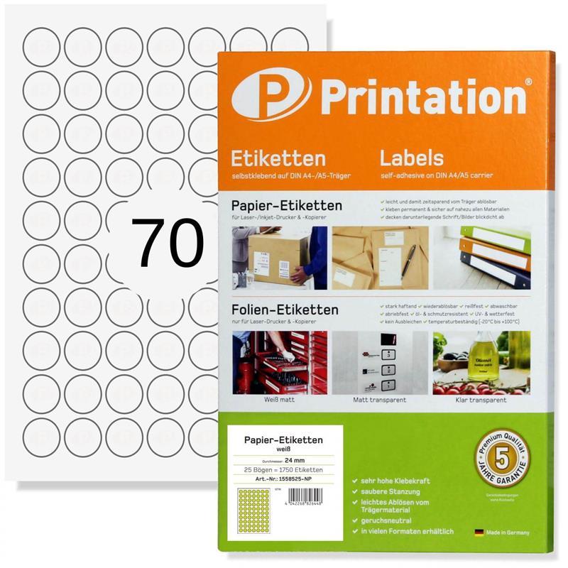 Printation 24 mm Runde Klebeetiketten weiß 10 DIN A4 7x10 24mm Sticker