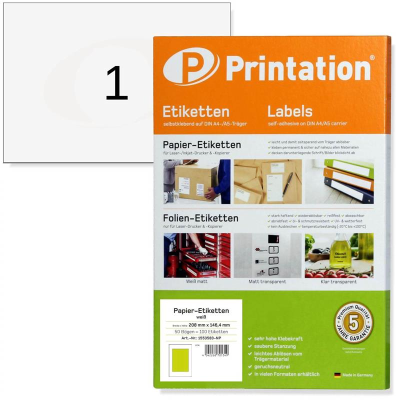 Printation DIN A5 210 x 148 Etiketten  50 210x148 DHL Paketaufkleber