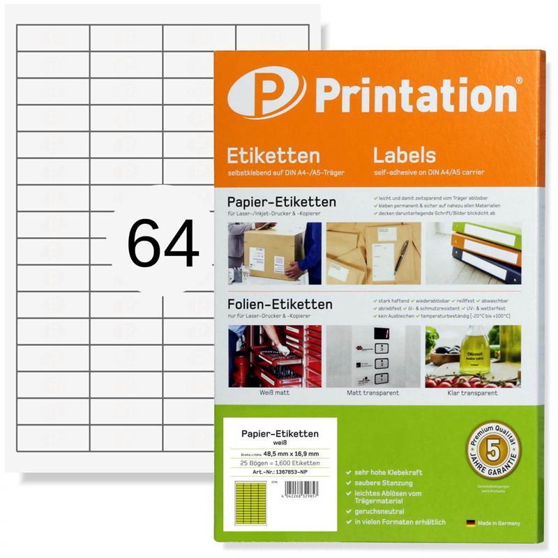 Printation 48,5 x 16,9 mm Etiketten weiß 6400 Aufkleber 48,5x16,9 A4