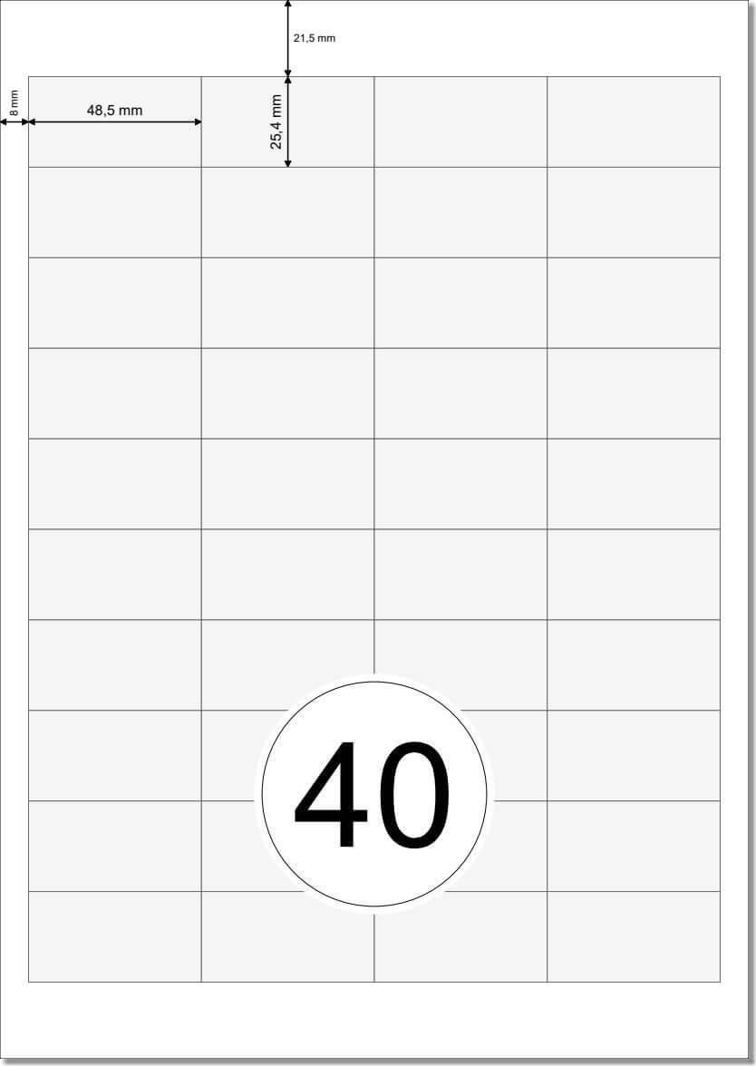 4000 Labels 48,5x25,4 auf 100 DIN A4 Bogen 3657 4780 4474 Universal Etiketten 48,5 x 25,4 mm selbstklebend wei/ß bedruckbar
