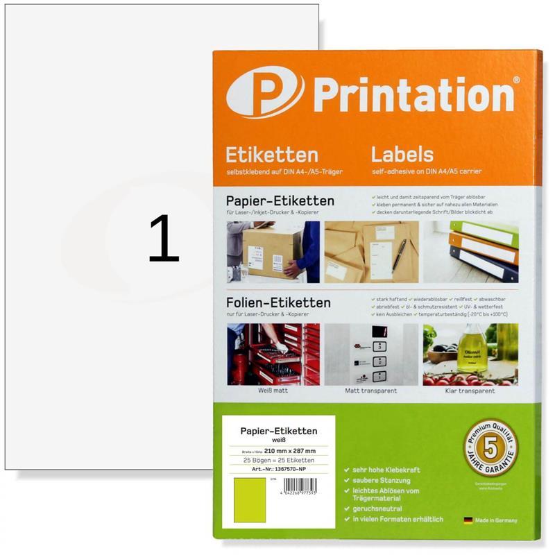 Printation 210 x 297 mm Universal-Etiketten A4 selbstklebend 25 Labels