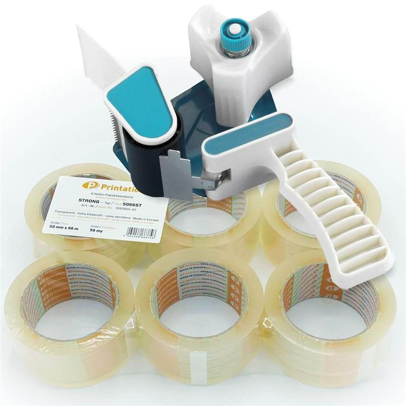 Klebeband Abroller Set Handabroller 50mm + 6x Printation Paketklebeband