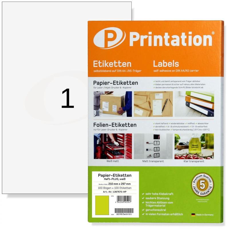 Printation 210 x 297 mm Haft-PLUS Power Etiketten A4 stark klebend weiß 210x297