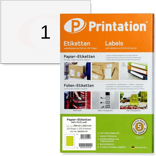 Printation DIN A5 210 x 148 Haft-PLUS Power Etiketten 200 210x148 stark haftend