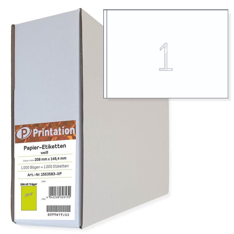 Printation DIN A5 210 x 148 Etiketten   1000 210x148 DHL Paketaufkleber