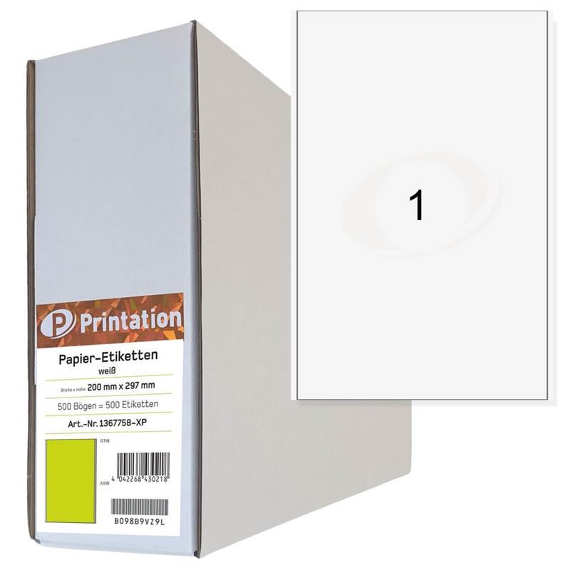 Printation 200 x 297mm Etiketten 500 Paket Versandetiketten 200x297 A4