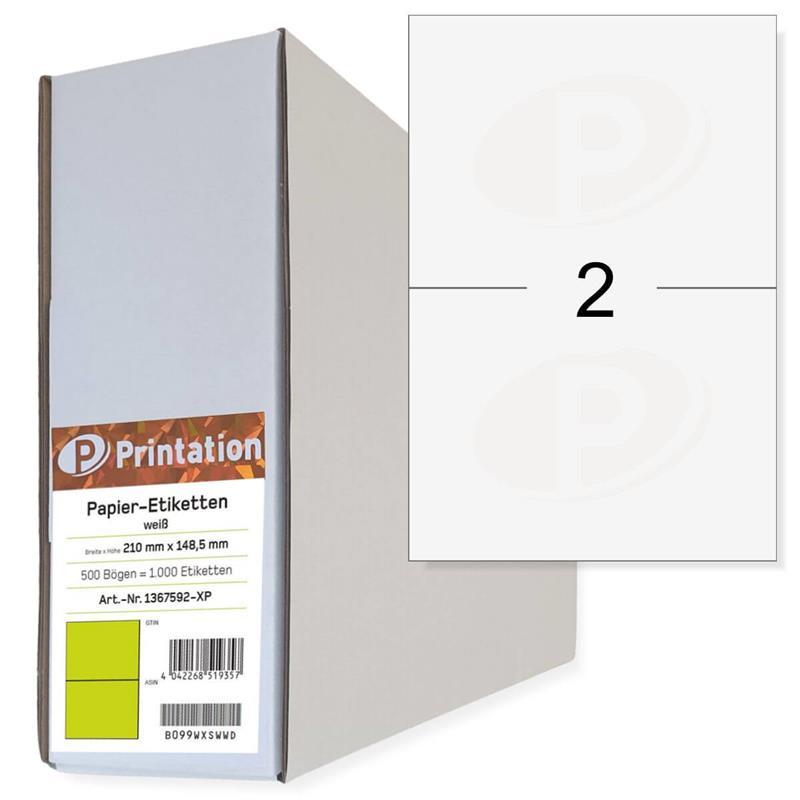 Printation 210 x 148,5 Etiketten weiß 1000 DHL Paket Aufkleber 210x148