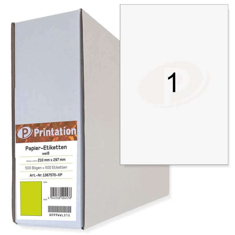 Printation 500 210 x 297 mm Universal Etiketten A4 selbstklebend 210x297