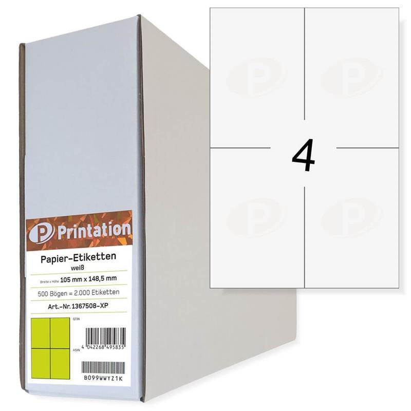 Printation 105 x 148,5 Etiketten weiß 2000 A6 Paketaufkleber 105x148 A4