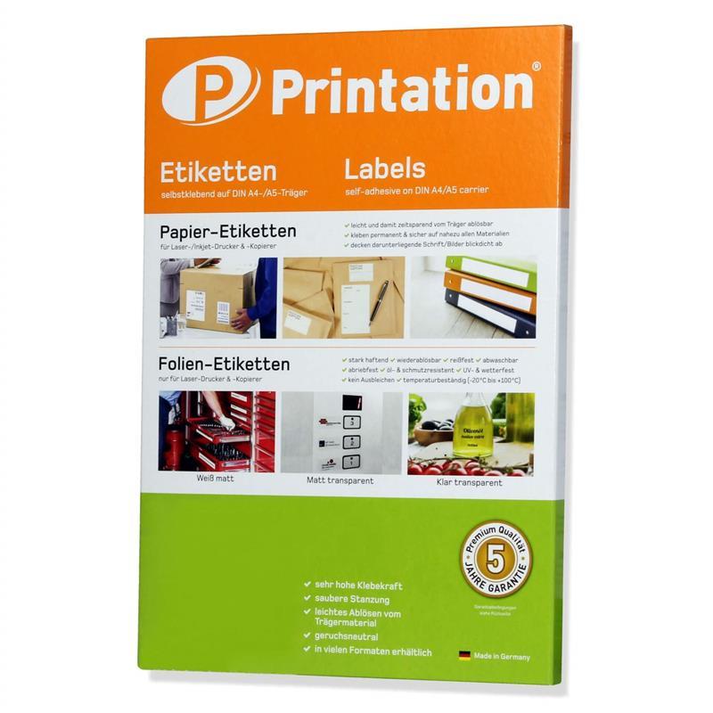 Printation Universal Etiketten Auswahl Sticker in div. Formaten auf A4
