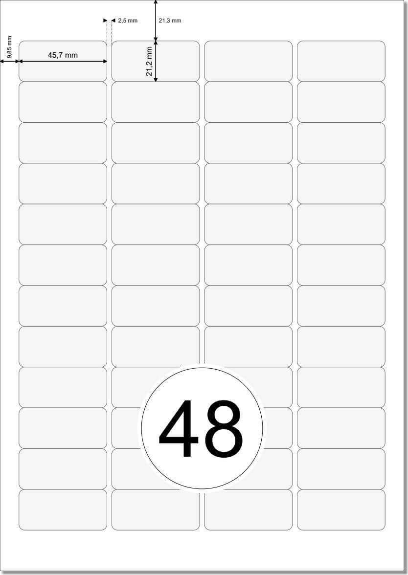 Wei/ße Etiketten 45,7 x 21,2 mm WETTERFEST wei/ß auf A4 Bogen 1200 Folienetiketten 45,7x21,2 selbstklebend mit Laser Drucker bedruckbar 4 x 12 Labels//Seite